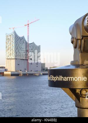 Elbphilharmonie (Elbe Philharmonic building) construction from across the river Elbe in Hamburg, Germany. - Stock Photo