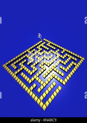 Golden 3D maze. - Stock Photo