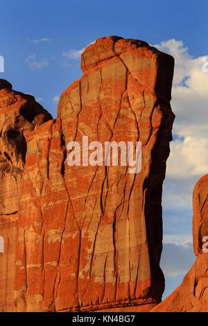Orange Rock Wall Patterns Park Avenue Section Arches National Park Moab Utah USA Southwest. Classic sandstone rock - Stock Photo