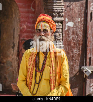 Portrait of a sadhu, Kathmandu, Nepal - Stock Photo