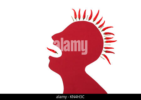 concept of human disease - abstract white male man with iroquois isolated on red background shouted a mouth from - Stock Photo