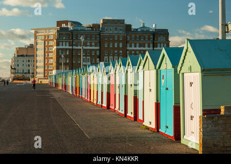 Brighton beach huts on a winter afternoon, East Sussex, England. - Stock Photo