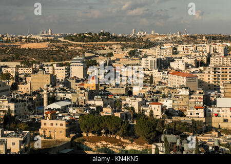 View over the Holly City of Bethlehem in the occupied territories of the West Bank, Palestine. - Stock Photo