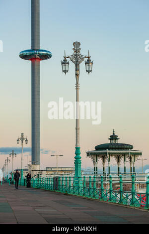 Winter evening on Brighton seafront, England. - Stock Photo