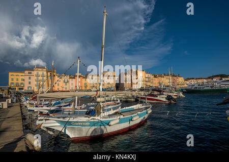 Port of St. Tropez, Var, Cote d' Azur, South of France, France - Stock Photo