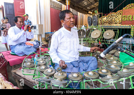 Musician at the Temple Festival in the Shwezigon Pagoda, Bagan, Myanmar, Asia, Bagan, Myanmar - Stock Photo