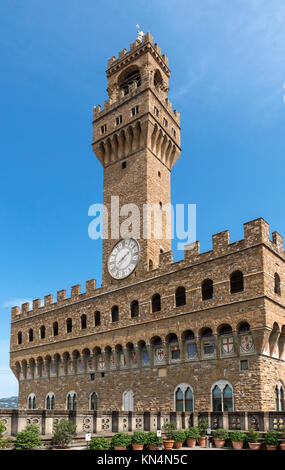 The Palazzo Vecchio from the roof terrace of the Uffizi Gallery, Florence, Italy. - Stock Photo
