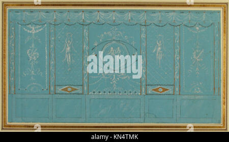 Design for a Decorated Wall with Grottesque over Blue Background ...