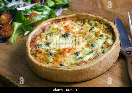 Lochmuir smoked salmon and broccoli quiche. - Stock Photo