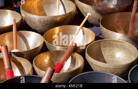 Stall of tibetan Singing Bowls or Cup of life, popular product in Nepal, Tibet and India. - Stock Photo