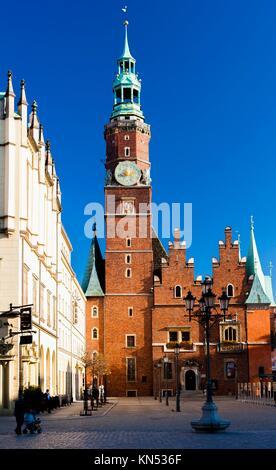 Town Hall on Main Market Square, Wroclaw, Silesia, Poland. - Stock Photo