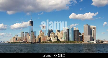 One World Trade Center under construction in the NYC skyline in September 2012. - Stock Photo