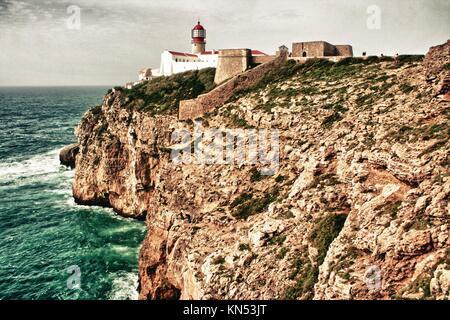 Saint Vincent Cape and lighthouse, Sagres, Algarve, Portugal. - Stock Photo