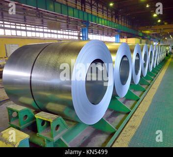 rolls of steel sheet inside of plant. - Stock Photo