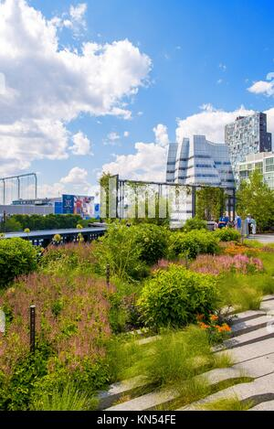 High Line Park in NYC. The High Line is a public park built on an historic freight rail line elevated above the - Stock Photo