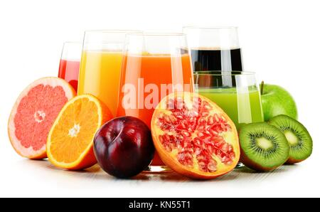 Composition with glasses of assorted fruit juices isolated on white. Detox diet. - Stock Photo
