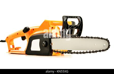 Electric chainsaw isolated on white background. - Stock Photo