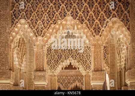 Moresque ornaments from Alhambra Islamic Royal Palace, Granada, Spain. 16th century. - Stock Photo
