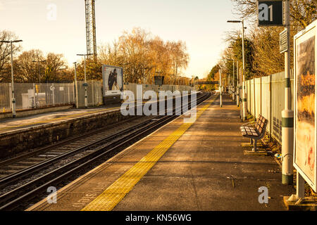 Toned Image of a Deserted Ashtead Railway Station in Surrey South of London - Stock Photo