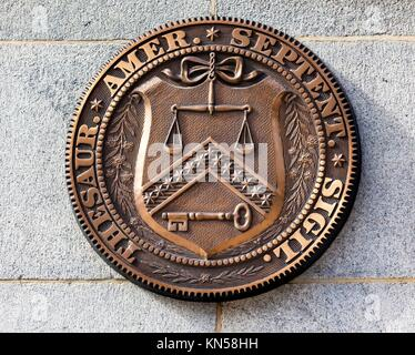 Early Bronze Seal Sign Symbol US Treasury Department until 1968. This seal was first used by Treasury in 1780 until - Stock Photo