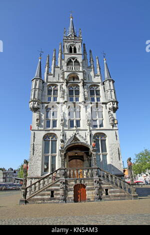 The ancient Town hall of Gouda in Holland the Netherlands. - Stock Photo