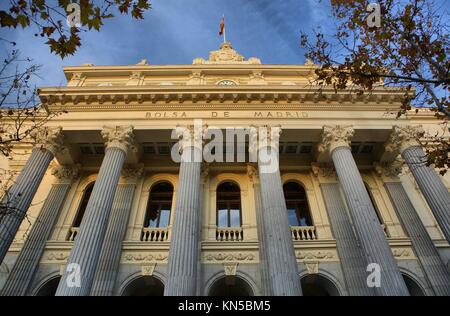 stock market facade with stone columns, Madrid, Spain. - Stock Photo