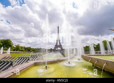 The Eiffel Tower on a beautiful summer day as seen from Trocadero Gardens. - Stock Photo