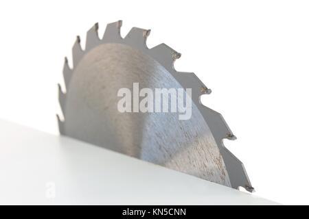 A close up shot of a circular saw blade. - Stock Photo