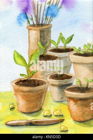 Garden pots, plants and easter feathers. Original gouache and watercolor painting. - Stock Photo
