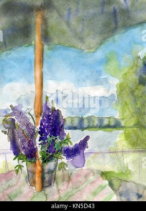 Lupines and umbrella, original watercolor sketch. - Stock Photo