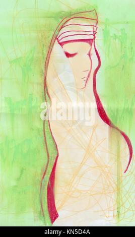 Girl in green, original pastel sketch. - Stock Photo