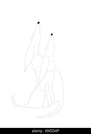 Two dogs white. Two stylized abstract art nouveau dogs. Two dogs, whippet type sitting with noses pointing upwards, - Stock Photo