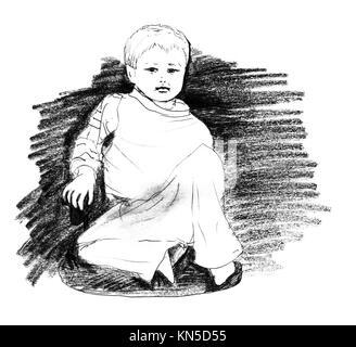 Boy sitting, original pencil sketch of four year old boy sitting in a sofa. - Stock Photo