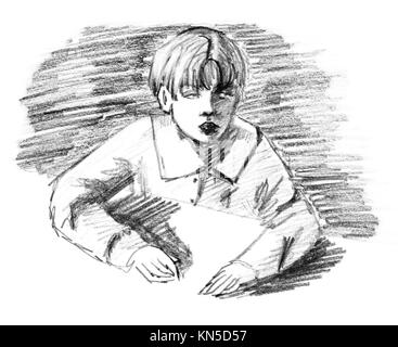 Boy and desk, original pencil sketch of ten year old boy sitting by a table. - Stock Photo