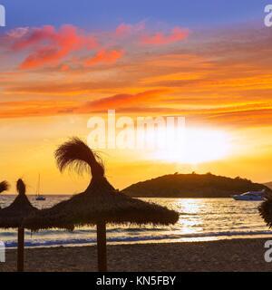 Majorca sunset in sant Elm near sa Dragonera at Mallorca Balearic islands of spain. - Stock Photo