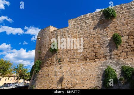 Alcudia Old Town fortress wall in Majorca Mallorca Balearic island of Spain. - Stock Photo