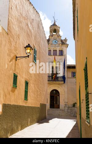 Alcudia Old Town city town hall in Majorca Mallorca Balearic island of Spain Ayuntamiento. - Stock Photo