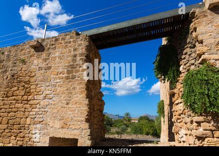 Alcudia Old Town in Majorca Mallorca Balearic island of Spain. - Stock Photo