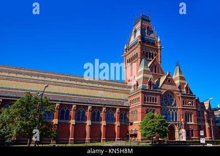 Harvard University historic building in Cambridge at Massachusetts USA. - Stock Photo