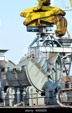 rolls of steel sheet in harbor. - Stock Photo