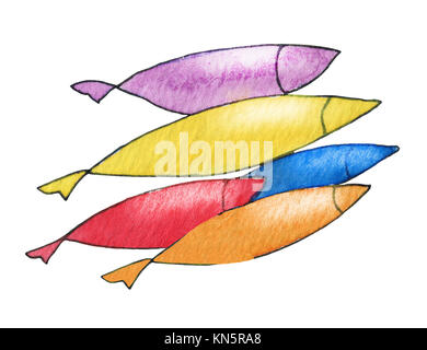 Fish on white. Abstract original watercolor background texture. - Stock Photo