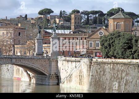 Ponte Vittorio Emanuele II over River Tiber in Rome. - Stock Photo