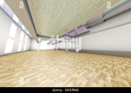 A modern empty Apartment interior. 3D rendered illustration. - Stock Photo