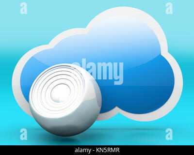 A audio cloud symbol. 3D rendered illustration. - Stock Photo