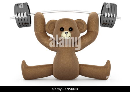 A weightlifting Teddy Bear. 3D rendered Illustration. - Stock Photo