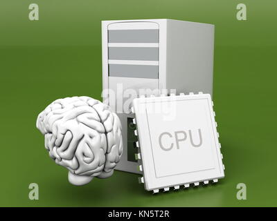 Artificial Intelligence Symbol. 3D rendered Illustration. Gray background. - Stock Photo