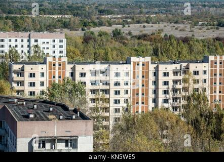view from roof of 16-storied apartment house in Pripyat town, Chernobyl Nuclear Power Plant Zone of Alienation, - Stock Photo