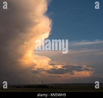 A storm is brewing on the western landscape on the Nebraska Wyoming state line - Stock Photo