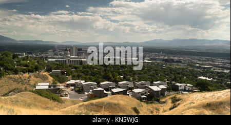 A storm just passed over Salt Lake City Utah and the downtown section - Stock Photo