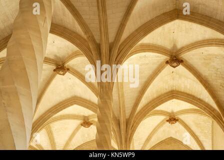 Fluted columns in espiral. La Llotja, XV century. Palma. Mallorca. Balearic Islands. Spain. - Stock Photo